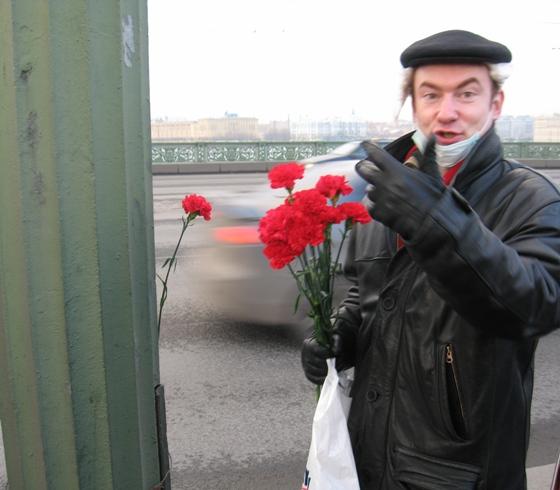 Цветы к месту, где проникли сквозь блокпост