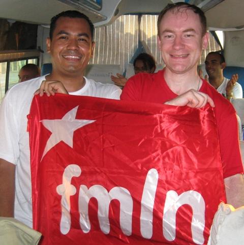 С представителем руководства Фронта имени Фарабундо Марти , Сальвадор