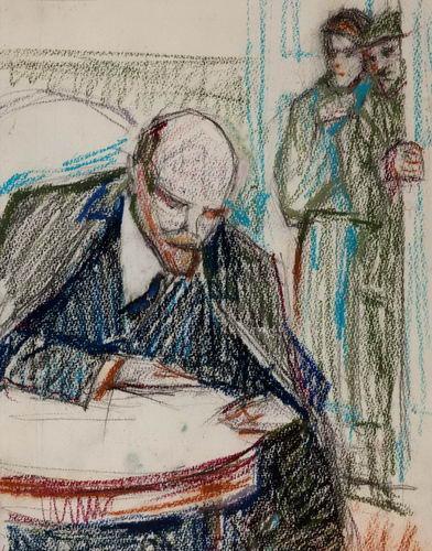 Ленин наносит последние пометки на карту клада. Эскиз неизвестного.